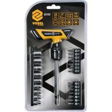 Набор инструмента, отвёртка реверсивная + головки и биты (набор 25пр.) CrV