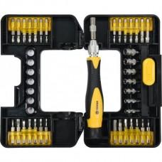 Набор инструмента, отвёртка реверсивная + головки и биты (набор 37пр.) CrV