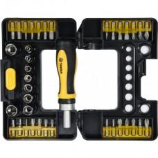 Набор инструмента, отвёртка реверсивная + головки и биты (набор 38пр.) CrV