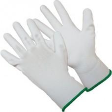 Перчатки белые из полиэстра с белым ПУ покрытием на ладони, 13 класс вязки