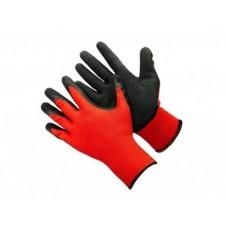 Перчатки из красного  полиэстра с черным  покрытием на ладони, 13 класс вязки