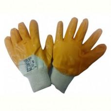 Перчатки из х/б 100%, с част.покрытием 3/4, из желтого нитрила, трикотажная манжета