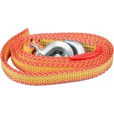 Трос ленточный буксировочный плетеный синтетический в комплекте с крюками (1450кг)