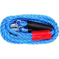Трос буксировочный плетеный пропиленовый в комплекте с крюками (2500кг)