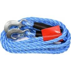 Трос буксировочный плетеный синтетический в комплекте с крюками (250 кг)