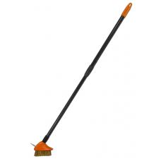 Щетка металлическая для чистки тротуарной плитки с телескопическим черенком